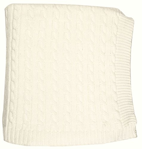 """DARZZI Cable Knit Baby Blanket, Ivory, 35""""x45"""""""