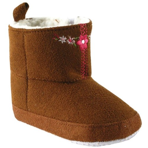 Embroidered Suede Baby Boots, Brown, 0-6 months