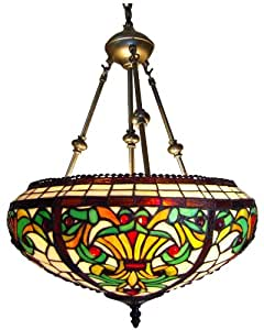 Chloe Lighting CH16A183I-UPD2 Tiffany-Style Victorian 2-Light Inverted Ceiling Pendant Fixture with 16-Inch Shade