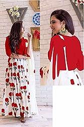 Kesu Fashion Women's Printed Un-stitched Lehenga Choli With Dupatta In Banglori Silk Fabric (KUPJBB1005) Red