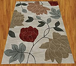 Homemusthaves Gray Burgundy Green Blue Brown New Modern Contemporary Floral 3D Polyester Wool Area Rug Carpet (2.6x4 Feet)