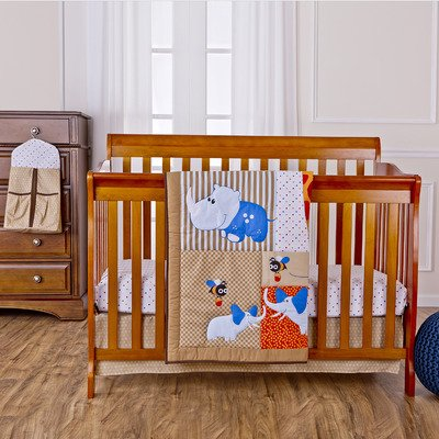Dream On Me Jungle Babies Reversible 5 Piece Portable Crib Set - 1