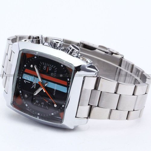 AMPM24 Mens Mechanical Oblong Date Day Sport Black Dial Stainless Steel Wrist Watch