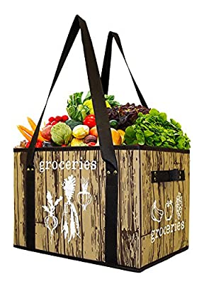 Earthwise Deluxe Collapsible Reusable Shopping Box Bag with Reinforced Bottom