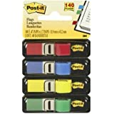 Post-it Flags, Assorted Primary Colors, 1/2-Inch Wide, 35/Dispenser, 4-Dispensers/Pack, 2-PACK