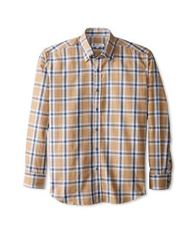Café Bleu Men's Windowpane Check Flannel Sportshirt