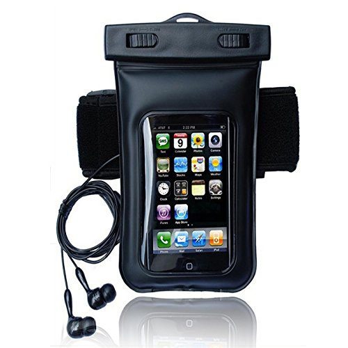 Underwater Sport Swiming Diving Boating Fishing Tubing Waterproof Dry Pouch Bag Case Cover With Earphone Headphone For Cell Phone, Smartphone Iphone 5S 5C 5 4S, Samsung Galaxy S5 S4 S3, Samsung Galaxy Note 3 2, Htc One, Mp3, Mp4, Ipod Touch Unversal (Blac