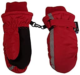 N\'Ice Caps Kids Thinsulate and Waterproof Reflector Ski Mittens (2-3 Years, Red)