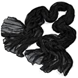 ZPS Women Pure Candy Long Crinkle Soft Scarf (Black)