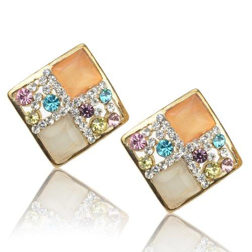 Ladies Multicolor Rhombus Cat Eye Gem Rhinestone Golden Tone Stud Earrings B1754K