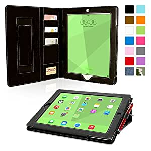Snugg iPad 3 & 4 Case - Executive Smart Cover With Card Slots & Lifetime Guarantee (Black Leather) for Apple iPad 3 & 4