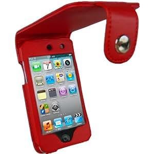 igadgitz Etui Pochette Case de luxe relevable en Cuir PU (polyuréthane), Housse de couleur Rouge pour Apple iPod Touch 4G 4ème Gen Génération 8 go gb 32 go gb &  64 go gb + clip ceinture amovible + protecteur d'écran