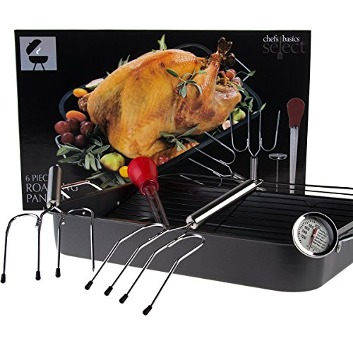 6pc Chefs Basics Select Nonstick Roasting Cooking Pan Bakeware Set Rack Lifter Baster Thermometer