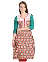 eSTYLe Red 'N Green Printed Kurta From eSTYLe With Embroidered Yoke And Dobby Sleeve