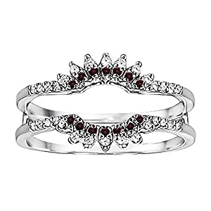 0.22CT Diamond and Ruby Contoured Wedding Ring Jacket set in Sterling Silver (0.22CT TWT G-H I2-I3 Diamonds and Ruby)