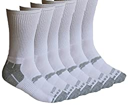 Puma Crew Socks for Men - 6 Pairs - (White) Cotton Cushioned Sock Size 10-13 Shoe Size 6-12