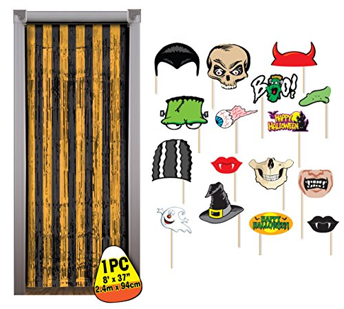 Halloween Photo Booth Props with Black & Orange Tinsel Backdrop by Express Novelties Online (Parade Quality Costume)
