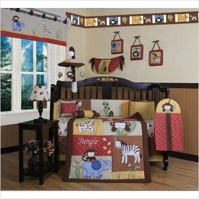 GEENNY Boutique Crib Bedding Set, Beautiful Amazon Jungle Animals, 13 Piece image