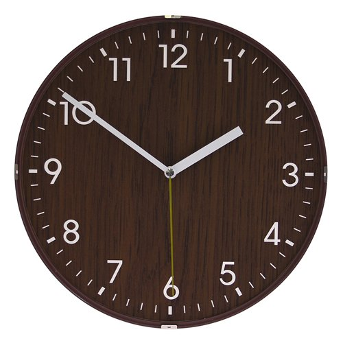 Dome Wooden Non-Ticking Silent Wall Clock (Brown)