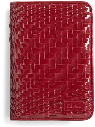 Cole Haan Hand-Woven Patent Leather Kindle Cover with Hinge (Fits Kindle Keyboard), Ruby Sugar