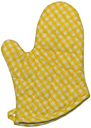 Phoenix 13-Inch Gingham Oven Mitts with Silicone Palm, Yellow, Package of 4