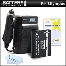 Battery And Charger Kit For Olympus STYLUS XZ-2 iHS XZ-2iHS SH-50 iHS SH-50MR Stylus SH-1 SH-2 TG-2 iHS TG-3 Digital Camera Includes Extended Replacement (1500Mah) LI-90B LI-92B Battery + Ac/Dc Rapid Travel Charger + MicroFiber Cloth + More