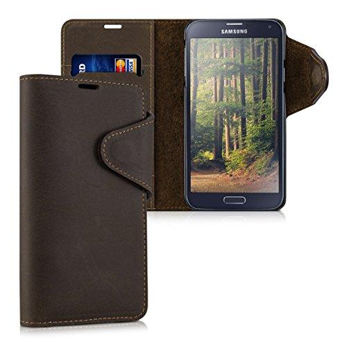 kalibri-Echtleder-Wallet-Hlle-fr-Samsung-Galaxy-S5-S5-Neo-S5-Duos-Case-mit-Fach-und-Stnder-in-Braun