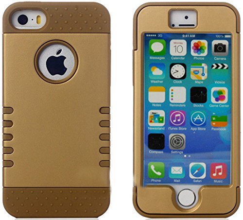 Mylife Golden Bronze - Shield Armour Series (Neo Hypergrip Flex Gel) 3 Piece Case For Iphone 5/5S (5G) 5Th Generation Smartphone By Apple (External 2 Piece Fitted On Hard Rubberized Plates + Internal Soft Silicone Easy Grip Bumper Gel)