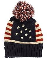 Winter Vintage Stars Stripe Knit USA Flag Beanie Skull Ski Pom Pom Hat Cap Navy, Unisex, One Size