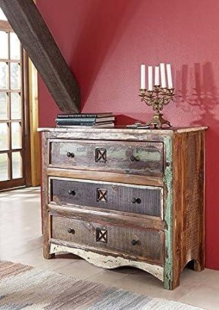 Massivholz lackiert massiv Möbel Kommode Altholz mehrfarbig Massivmöbel Möbel massiv Spirit #49