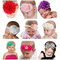 Qandsweet Baby Girl's Beautiful Headbands With Flower (Set Of 9)