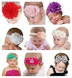 Qandsweet Baby Girl\'s Beautiful Headbands with Flower (Set of 9)