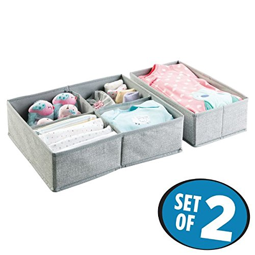mDesign Fabric Baby Nursery Closet Organizer for Clothes, Towels, Socks, Shoes - Set of 2, Large, 5 Compartments, Gray (Countertop Baby Chair compare prices)