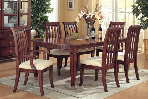 7pc Barrington Brown Cherry Finish Wood Dining Room Table & Chairs Set