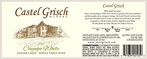 2013 Castel Grisch Cayuga White Finger Lakes 750 Ml