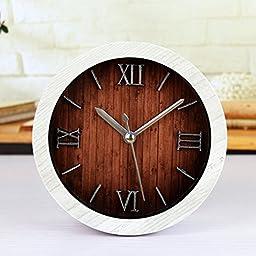 FirstDecor 5\'\' White Time Teacher Beep Alarm Clock Roman Numerals Vintage Wooden Pattern Silent Non-ticking Quartz Round Desk Clocks Table Clock 3D Clock