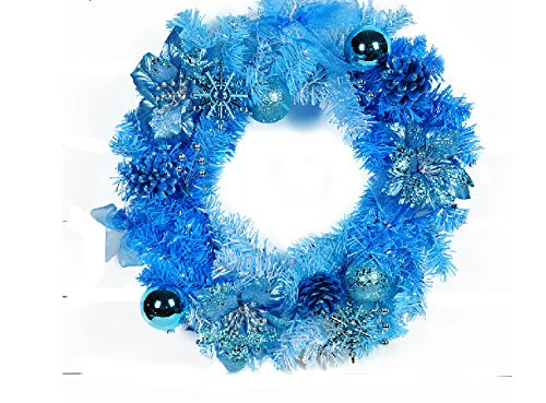 christmas wall decoration christmas props christmas flowers decoration blue christmas echinacea wreath 40cm - Blue Christmas Wreath