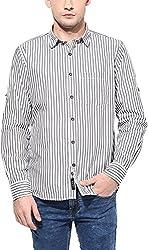 Y.U.V.I. Men's Cotton Regular Fit Casual Shirt (11112939-S, White & Black, Small)