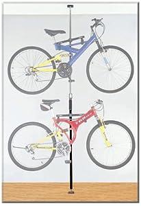 Stoneman Sports DBR-9161-BK Sparehand Q-Rack Freestanding Adjustable 2-Bike Storage Rack for All Frame Types, Black Finish