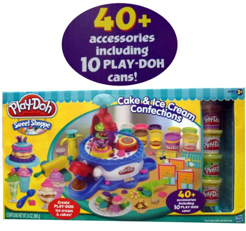 Play-Doh Sweet Shoppe Cake & Ice Cream Confections 40+ Accessoried + 10 Cans of Play Doh
