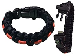 Paracord Bracelet 7 inch With Fire Starter, Compass, Fishing Line and Orange Cord by Aid & Prep