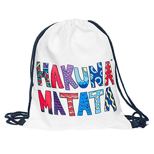 Sacchetto Hakuna Matata®, colore: bianco con stampa multicolore LoomiLoo hkm1