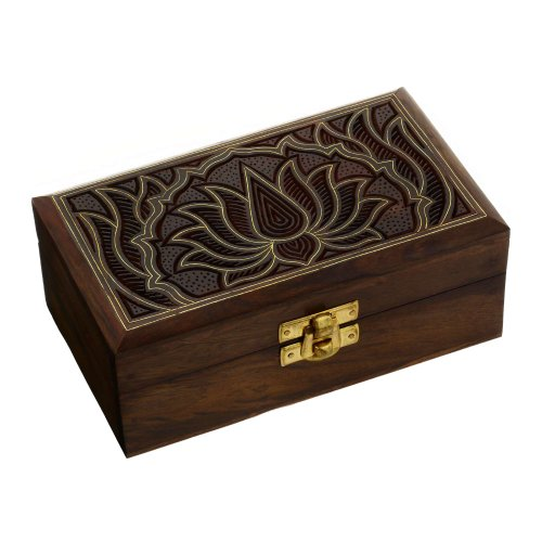 Indian Jewelry Box Wooden Carving Handcrafted Gifts Unusual 6 X 3.5 X 2.3 Inches