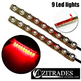 ZITRADES 2pack Red Color Motorcycle Car 9cm 9 LED Neon Accent light Flexible Waterproof Strip with 5Ft long Fine Copper easy 2 wire.