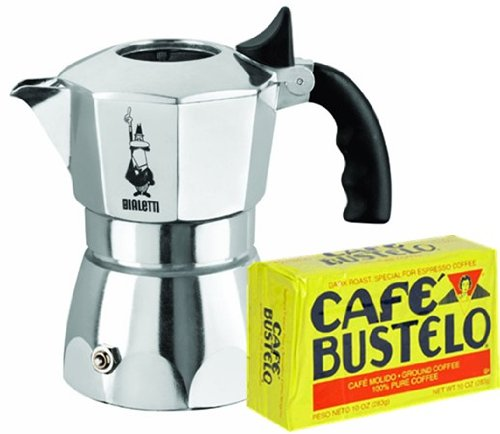 Bialletti Brikka 4 Cup Coffee maker. Free Bustelo 10 oz vacuum coffee pack.