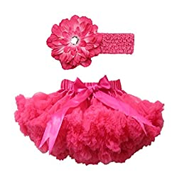 Buenos Ninos Girl\'s Tutu Chiffon Petticoat Set with Flower Headband Size 1-2T Hot Pink