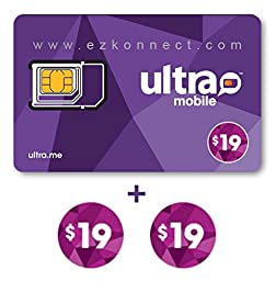 Ultra Mobile triple punch Regular, Micro and Nano all in one SIM Card + 2 months $19 Plan