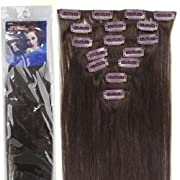 20''7pcs Fashional Clips in Remy Human Hair Extensions 24 Colors for Women Beauty Hot Sale (#02-dark brown)