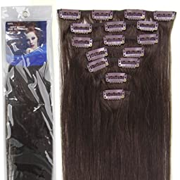 20\'\'7pcs Fashional Clips in Remy Human Hair Extensions 24 Colors for Women Beauty Hot Sale (#02-dark brown) by lilu