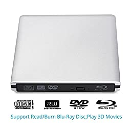 Canava External Blu-Ray Writer / Burner USB 3.0 for PC Windows or Apple Mac iMac MacBook